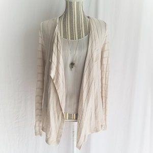 WHBM Waterfall Knit Cream Cardigan